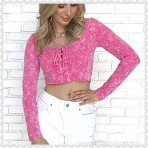 $$ SALE TODAY - NWT Honey Punch Pink Crop Top